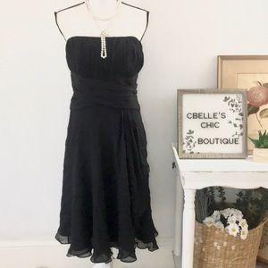 WHBM Black Silk Strapless Cocktail Dress Sz 8